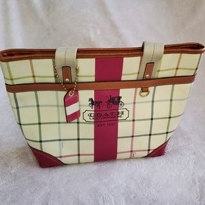 COACH Plaid Pink Purse